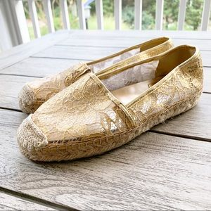 MARC FISHER Gold Lace Espadrille Shoe
